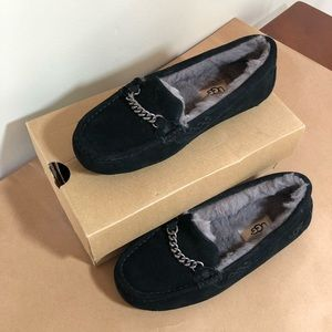 Ugg Ansley charms black suede fur lined slipper 6